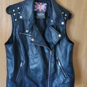 Spiked shoulder leather vest